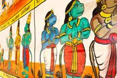 Fermez-vous vers le haut de la vue de la peinture de mur, Kumbakonam, Tamilnadu, Inde - 17 décembre 2016 Image stock