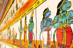Fermez-vous vers le haut de la vue de la peinture de mur, Kumbakonam, Tamilnadu, Inde - 17 décembre 2016 Images libres de droits