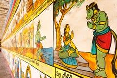 Fermez-vous vers le haut de la vue de la peinture de mur, Kumbakonam, Tamilnadu, Inde - 17 décembre 2016 Image libre de droits
