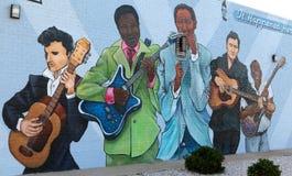 Fermez-vous vers le haut de la vue de la peinture murale de bleus, Memphis Arkansas occidental Photographie stock