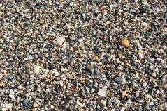 Fermez-vous vers le haut de la vue de la plage avec de petits pierres, sable et coquilles Photo libre de droits