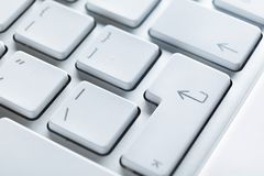 Fermez-vous vers le haut de la vue des boutons du clavier d'ordinateur portatif Photos stock