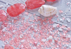 Fermez-vous vers le haut de la vue des coquillages, du sel d'aromatherapy et du collier de corail Fond tendre Image stock