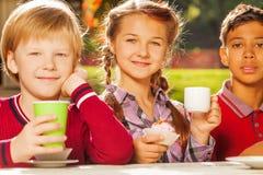 Fermez-vous vers le haut de la vue des enfants internationaux buvant du thé Images libres de droits