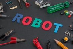 Fermez-vous vers le haut de la vue des tableaux de commande de consister de kit de robot, outils photos libres de droits
