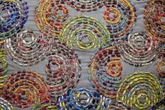 Fermez-vous vers le haut de la vue du fond tricoté coloré de tissu Image libre de droits