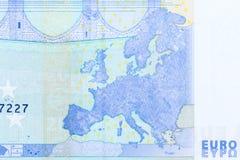 Fermez-vous vers le haut de la vue de la facture de l'euro 20, macro tir de facture de l'euro 20 Photo stock