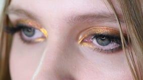 Fermez-vous vers le haut de la vue de l'oeil bleu de femme avec le beau maquillage d'or de nuances Le classique composent Maquill banque de vidéos