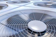 Fermez-vous vers le haut de la vue sur la chauffage, la ventilation et la climatisation d'unités de la CAHT 3D a rendu l'illustra Photographie stock libre de droits