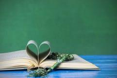 Fermez-vous vers le haut de livre relié avec le tasbih ou les pains Images stock