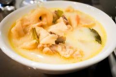 Fermez-vous vers le haut de Tom-Kha-Kai, nourriture thaïlandaise de tradional Image stock
