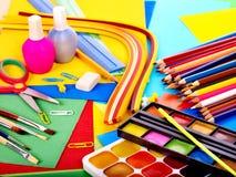 Fermez-vous vers le haut des approvisionnements d'école. Image stock