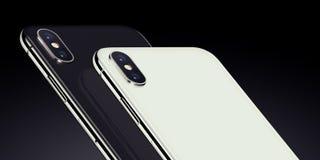 Fermez-vous vers le haut des arrières de smartphones isométriques noirs et blancs avec des modules d'appareil-photo cultivés Photos stock