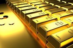 Fermez-vous vers le haut des barres d'or et des pièces de monnaie empilées, 3d le rendu, illustration illustration libre de droits