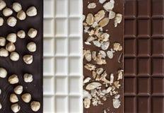 Fermez-vous vers le haut des bars de chocolat fabriqués à la main de qualité Image stock