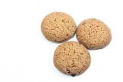 Fermez-vous vers le haut des biscuits d'isolement sur le fond blanc Image stock