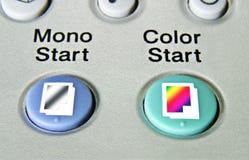 Fermez-vous vers le haut des boutons marche de copieur Images libres de droits