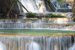 Fermez-vous vers le haut des cascades bleues de courant dans la forêt profonde Photos libres de droits