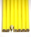 Fermez-vous vers le haut des crayons dans une ligne Image libre de droits