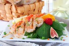 Fermez-vous vers le haut des crevettes grillées Photo libre de droits