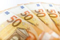 Fermez-vous vers le haut des 50 factures d'euro Photographie stock libre de droits
