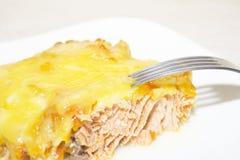 Fermez-vous vers le haut des saumons et du fromage savoureux Photographie stock libre de droits
