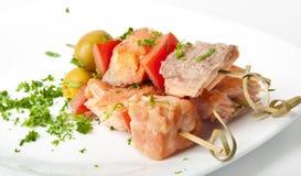 Fermez-vous vers le haut des saumons grillés Photo libre de droits