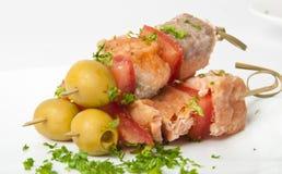 Fermez-vous vers le haut des saumons grillés Image stock