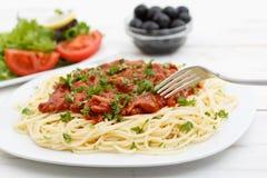 Fermez-vous vers le haut des spaghetti Bolonais photographie stock libre de droits