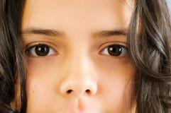 Fermez-vous vers le haut du beau visage de fille Images libres de droits