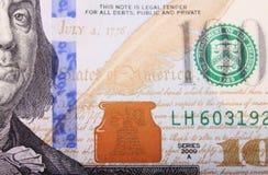 Fermez-vous vers le haut du billet d'un dollar Images libres de droits