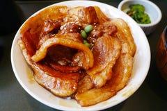 Fermez-vous vers le haut du bol de Butadon de riz complété avec du porc coupé en tranches et la sauce douce Photos libres de droits