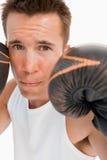 Fermez-vous vers le haut du boxeur en position de défense Image libre de droits