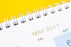 Fermez-vous vers le haut du calendrier de mai 2017 Images libres de droits