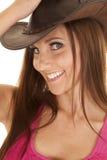 Fermez-vous vers le haut du chapeau rose Photos stock