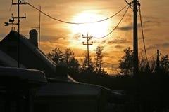 Fermez-vous vers le haut - du coucher du soleil un jour d'hiver image libre de droits