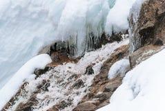 Fermez-vous vers le haut du courant d'hiver encadré par la neige et la glace bleue Photos libres de droits