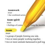 Fermez-vous vers le haut du crayon lecteur de barre de mise en valeur et exprimez l'équipe Photos libres de droits