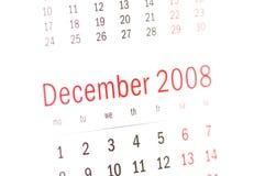Fermez-vous vers le haut du décembre 2008 du calendrier Image libre de droits