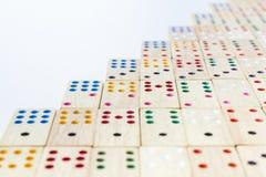 Fermez-vous vers le haut du domino en bois Photographie stock libre de droits