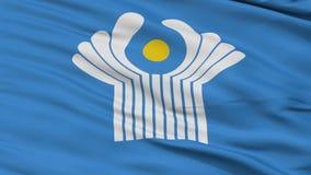 Fermez-vous vers le haut du drapeau de ondulation de CIS illustration stock