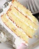 Fermez-vous vers le haut du gâteau et de la fourchette Photographie stock