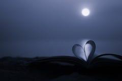 Fermez-vous vers le haut du livre de coeur sur le sable dans la plage avec le fond de tache floue de filtre de vintage Photo stock