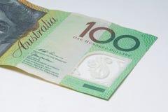 Fermez-vous vers le haut du macro argent de notes d'Australien Images stock