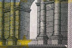Fermez-vous vers le haut du macro détail d'euro billets de banque d'argent toned Images stock