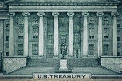 Fermez-vous vers le haut du macro détail des billets de banque d'argent du dollar toned Photos stock