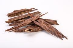 Fermez-vous vers le haut du macro tir des bâtons du bois ou d'Agarwood d'agar image libre de droits