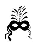 Fermez-vous vers le haut du masque noir de carnaval d'isolement Photographie stock libre de droits