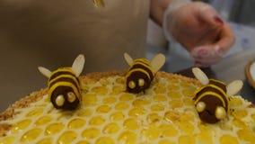 Fermez-vous vers le haut du miel de versement de main sur le gâteau Miel de versement sur le gâteau banque de vidéos