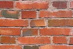 Fermez-vous vers le haut du mur de briques rouge. Fond Images stock